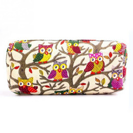 Wholesale Cute Owls Make - Canvas Owl Cosmetic Make Up Bag Travel Toiletry Storage Pouch Cute Cartoon Pencil Pen Case Student Gift Bag