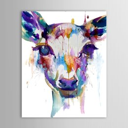 Wholesale Animal Stretchers - Sika Deer Prints Animal Oil Paintings on Canvas Handpainted Watecolor Style Wall Decorations Artwork 20x24Hinch Size Unframed Stretcher