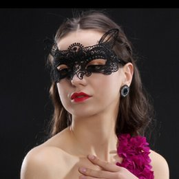 Wholesale Girls Sexy Halloween Costume - Black Sexy Lady Girls Lace Half Face Mask Cutout Eye for Sexy Halloween Masquerade Venetian Party Fancy Dress Costume For Christmas Disco
