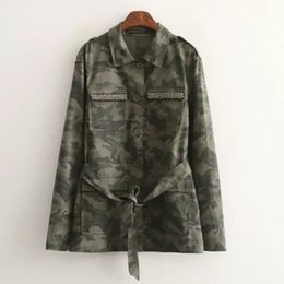 Wholesale Camouflage Womens Jackets - Wholesale- Fashion Womens Long Camouflage Jacket Militar Army Green Sashes Beaded Pocket Button Slim Casual Ladies Femme Coats