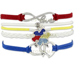 Wholesale Blue Infinity Bracelets - Custom-2016 Hot Infinity Love Autism Awareness Ribbon Bracelet Puzzle Piece Heart to Heart Charm Red Blue Yellow Suede Leather