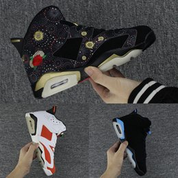 Wholesale Blue Year - 2018 Air Retro 6 Chinese New Year Men Basketball Shoes,High Quality Gatorade University Blue Black Infrared Sport Sneakers Size 41-47