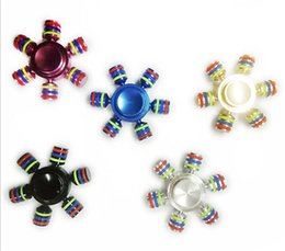 Wholesale Retail Package 15 Dhl - DHL Hexagon Hand Spinner 5 Colors Aluminium Fingertips Spiral Fingers Gyro Fidget Spinner Decompression Toys Gifts with Retail Package JC286