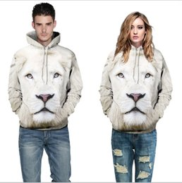 Wholesale 3d Face Belt - 3D pollover Hoodies 2017 Boy Novelty Streetwear 3D Couples lion face printing belt pocket Hooded hoodies
