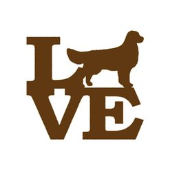 Wholesale Love Wall Stickers - Wholesale 20pcs lot Handicrafts Vinyl Decals Car Glass Stickers Scratches Stickers Wall Bumper Accessories Golden Love Golden Retriever Dog