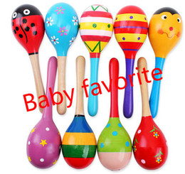 Wholesale Toy Instrument Wholesale - Hot Baby Wooden Toy Rattle Baby cute Sand Hammer toys Orff musical instruments Educational Toys JC27