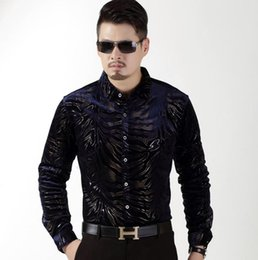 Wholesale Thick Warm Long Sleeve Shirts - New Brand Winter Style High quality Silk Long Sleeve Men Dress Shirts Floral Casual Men Velvet Shirt Slim Thick Warm Soft