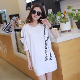 Wholesale Strapless Cotton Long Dresses Women - 2017 Summer lively Strapless Stitching women t shirts Low waist packap hip girl dresses 3 colors free shipping