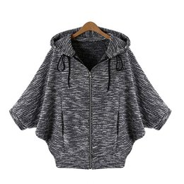 Wholesale Hooded Cardigan Sweater Sale - Wholesale-2016 Autumn Fashion Hot Sale Batwing Sleeve Casual Solid Sweater Cardigan Three Quarter Sleeve Hooded Poncho Knitted Cardigans
