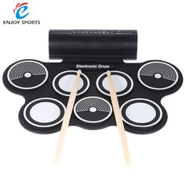 Wholesale Pad Midi - Wholesale- Portable Foldable Silicone Electronic Drum Pad Kit Digital USB MIDI Roll-up with Drumstick Foot Pedal 3.5mm Audio Cable