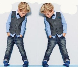 Roupa de colete de bebê on-line-3 PCS Bebê Meninos Cavalheiro Colete + Camisa + Jeans Definir Roupas Roupas de Crianças