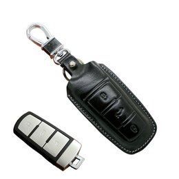 Wholesale Vw Remote Key Cover - Leather Remote key Case Holder Cover For VW volkswagen Magotan B6 B7 CC 3B Passat bag shell wallet keychain accessories