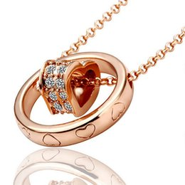 Wholesale Sterling Silver Circle Link - Women Crystal Circle Heart Double Pendant Bicyclo Crystal Pendant Necklace 18K Gold Plated Make With Swarovski Element