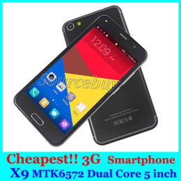 Wholesale Cheapest 3g Mobiles Phone - Cheapest 3G Smartphone X9 5 inch MTK6572 Dual Core Android Dual SIM Camera 256MB Mobile Cell Phone Smart Wake Play Store Free Case