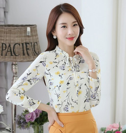 Wholesale Bow Neck Blouse Xl - New Autumn Women's Chiffon Blouses Shirts Plus Size Women Long Sleeve Floral Print Bow Shirt Tops Office Lady Casual Slim Blusas