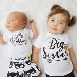 Wholesale Baby Brother Shirts - 2017 New Cute Fashion Toddler Kids Baby Clothes Big Sister big Brother Short Sleeve Cotton T-shirt Tops 2-7Y Child T-Shirts Casual Clothing