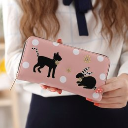 Wholesale Cute Pink Cat - YOUYOU MOUSE Cute Cat Design Women Long Zipper Wallets PU Leather Coin Purse Bag Lady Clutch Lovely Bunny Card Holder Money Bag