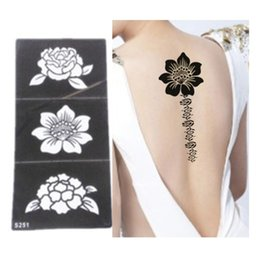 Wholesale Feet Painting - Wholesale-5pcs Tattoo Stencil Flower Tattoo Templates Hands Feet Henna Tattoo Stencils For Airbrushing Professional New Body Painting