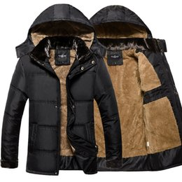 Wholesale Thick Cotton Hat - Wholesale- Thick Warm Winter Jacket Men Overc Jackets Detachable Hat High Collar Outerwearoat Fluff Lining Down Coats Parka Casual