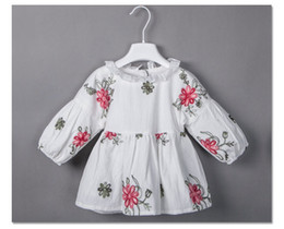 Wholesale Long Ideas - New idea Girls Dress Spring Flower Embroidered Floral Children Clothes Dresses Long Sleeve Cotton Baby Girl's Casual Dress White A8054