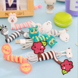 Wholesale Headphone Cartoons - Cute 3D Cartoon wrap cable wire clip Animal PVC Headphone Cable Tidy Wrap Totoro Owl Bunny Bear earphone winder Organizer C1423