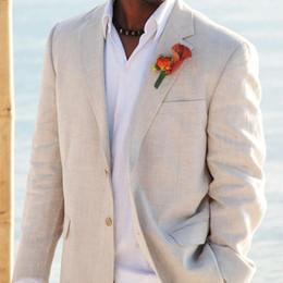 Wholesale Tuxedo For Beach Wedding - Wholesale- Simple Wedding Suits Tuxedos for Men Grooms Tuxedos Mens Suits 2017 Slim Fit beige Beach Groomsmen Suits Men Jacket+Pants