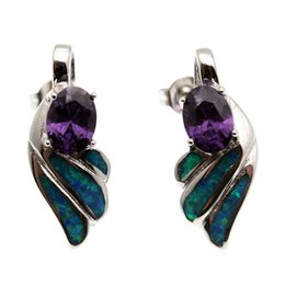 Wholesale Blue Flag Plant - 925 Sterling Silver Earring Fashion Origin Natural Gemstone Blue Opal Women Genuine Amethyst Stud Ear Free Shipping