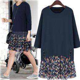 Wholesale Ladies Bohemian Shirt - Wholesale- Plus Size Casual Women Dress Floral Office Mini 5XL Party Spring Vintage Loose Cotton Ladies Shirts Dresses Vestidos ZMF8596324