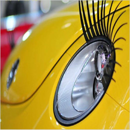 Wholesale Volkswagen Decals - Car Headlight Sticker False Eye Lash Sticker Funny Eyelashes Auto head Lamp Decoration Decals 2PCS For VW Volkswagen Beetle BMW
