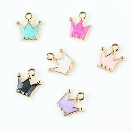 Wholesale Mini Craft Charms - Free Shipping 10pcs lot Zinc Alloy Gold Tone Mini Cute Crown Floating Enamel Charm Pendant DIY Jewelry Accessories Handmade Craft 12*12mm