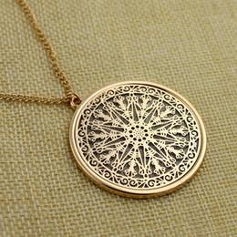 Wholesale Wood Necklaces For Men - Women Golden Hollowout Drop Glaze Sweater Chain Simple Long Pendant Necklace for women and men NE633