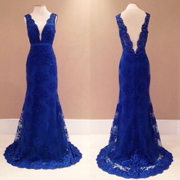 Wholesale Evening Dresses Straight Line - Vimans Elegant Deep V Neck Long Straight Royal Blue Evening Dress Lace Party Dress Gown Backless Prom Dress Cheap