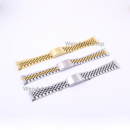 Wholesale leather replacement straps - 19 20 22mm Gold Two tone Hollow Curved End Solid Screw Links 316L Steel Replacement Watch Band Strap Old Style Jubilee Bracelet