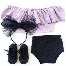 Wholesale Korean Sexy Shorts - New Summer Girls Sets Outfits Off Shoulder Sexy Tee Tops+Shorts Brief Pants Korean Fashion set Baby Children Clothing Sets Suits A6386