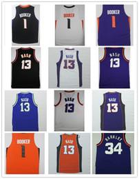 Wholesale 13 Basketball Jersey - Men Devin Booker Jersey Phoenix Basketball Jerseys HOT sale 34 Charles Barkley 13 Steve Nash Purple Orange Black White