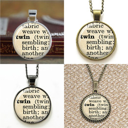 Wholesale Twin Sisters - 10pcs dictionary Twin Sister Definition Sister glass Art Pendant glass Necklace keyring bookmark cufflink earring bracelet