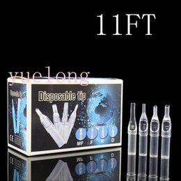 Wholesale Disposable Tattoo Tubes Clear - Wholesale-100pcs Newest Disposable Short Tattoo Tips 11ft Clear Plastic puntas flat Tattoo Tips Tubes Sterile Assorted free shipping