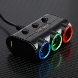 Wholesale Car Socket Sets - Wholesale- 1 Set 3-Way Triple Led Car Cigarette Lighter Socket Splitter Charger Power Adapter + 2 USB Allume Cigarette Voiture Car Styling
