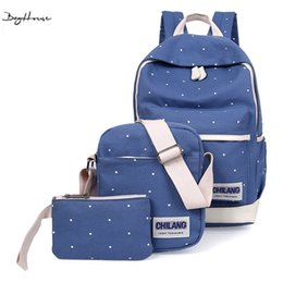 Wholesale Canvas Dots Backpacks For Girls - Wholesale- Ulzzang harajuku women Printing Dot Canvas Backpacks Set muchila youth rucksack School Bags For Teenagers girls boho backpacks