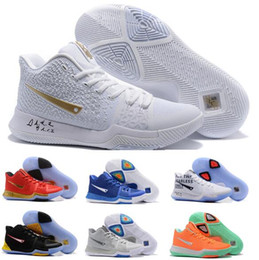 Wholesale Cheap Lavender - Cheap Kyrie 3 Basketball Shoes Men Women Orange Crossover Huarache Cavs Kyrie Irving 3s III Basketball Sports Shoes Replicas Sneakers Size 5