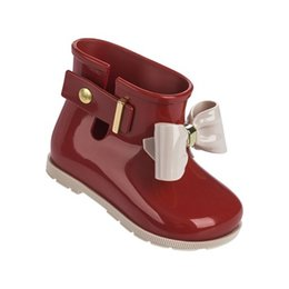 Wholesale Jelly Flower Boot - Mini Melissa Bow Rain Boots 2017 Jelly Boots Water Shoes Melissa Cute Bow Princess Child Jelly Rain Boots High Quality EUR 24-29