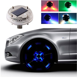 Wholesale Energy Cars - New Hot 1PC 4 Mode 12 LED Car Auto Solar Energy Flash Wheel Tire Light Lamp Car Decoration Light