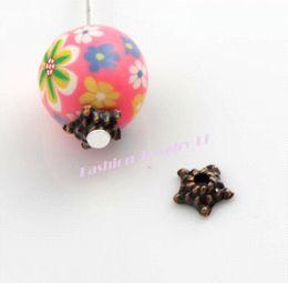 Chapeaux de perles de cuivre en Ligne-280pcs 5.3x5.4mm Antique Cuivre Dots Star Bead capuchon Bijoux Constatations Composants L1021 gros perle caps