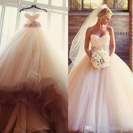 Wholesale Country Garden Wedding Flowers - Charming Blush Pink Wedding Dresses 2017 Tulle Beaded Sash Flower Cheap A Line Sweetheart Sleeveless Country Bridal Dresses Ball Gowns