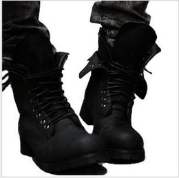 Wholesale Leather Riding Boots Men - Brand Two Colors Retro Combat boots Winter England-style fashionable Riding boots Men's short Black High-Top Leather shoes Hot!