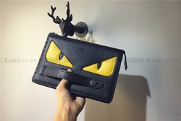 Wholesale Envelope Ship - Wholesale free shipping little monsters material clutch bag new design monster printing bag wholesale leather clutch bag