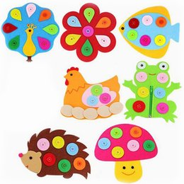 Wholesale Pc Building Materials - 1 Pc Creative DIY Cartoon Handmade Non-woven Fabric Material Button Preschool Tools Funny Games Early Educational Toys for Kids