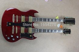 Wholesale Electric Guitar Custom Sg - Wholesale-Hot Selling 6strings and 12 strings double neck g shop custom SG electric guitar in red color free shipping 150708