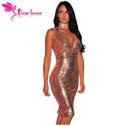 Wholesale Rose Cutout - Party Dresses Sexy Womens Vestido Lentejuelas Rose Burgundy Liquid Sequins Cutout Back Club Dress 2017 Summer LC61409 17410