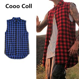 Wholesale Long Yellow Tank Top - Wholesale- Men Fashion Sumemer Tank Tops Kanye West Side zipper Men's Plaid Shirts Chris Brown Scottish Nightclubs Plus Size Cooo Coll